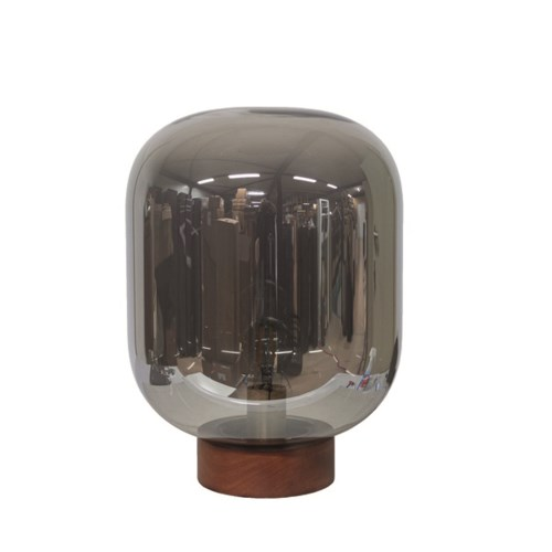 Tablelamp Glass With Wooden Base & Led Bulb