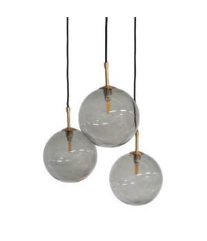Us-Pendant With 3 Smoke Glasses & Led Bulb