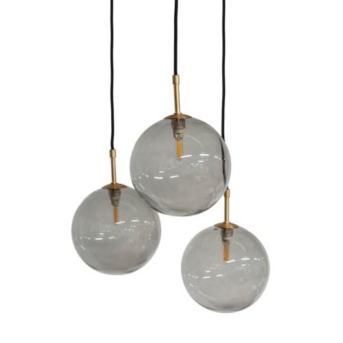 Us-Pendant With 3 Smoke Glasses & Led Bulb