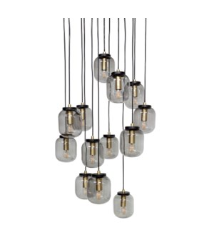 Us-Pendant With 13 Smoke Glasses & Led Bulb