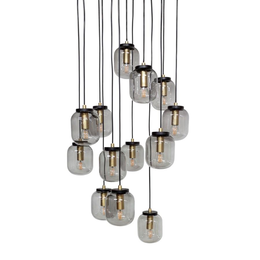 Us-Pendant With 13 Smoke Glasses & Led Bulb