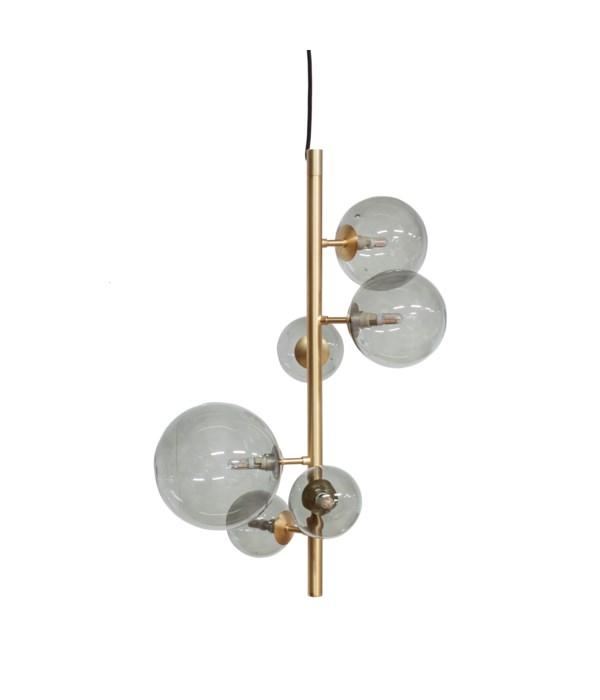 US-Pendant With 6 Smoke Glasses & LED Bulb