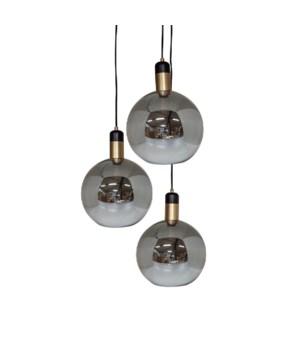 Pendant Glass & 3 LED Bulbs