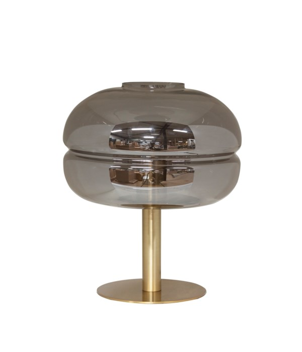 Table Lamp Iron With Glass Shade & Led Bulb