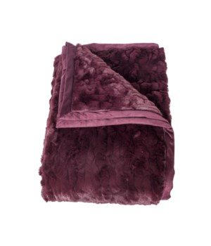 Plaid Logan Throw In Bordeaux, Imitation Fur