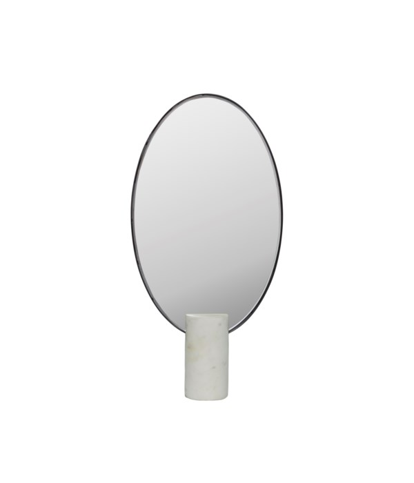 Mirror Oval On White Marble Stand