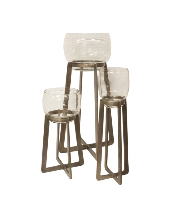 S/3 Candle Holders On Alu Stand With Clear Glass