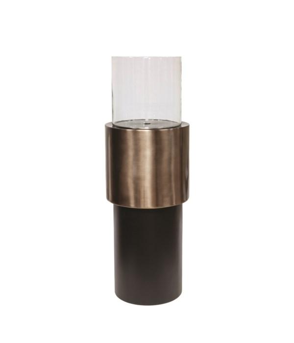 Candleholder Aluminium, Glass S & Anthracite Base