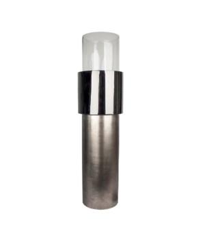 Large Candleholder Aluminimum & Glass In Black With Bronze Base