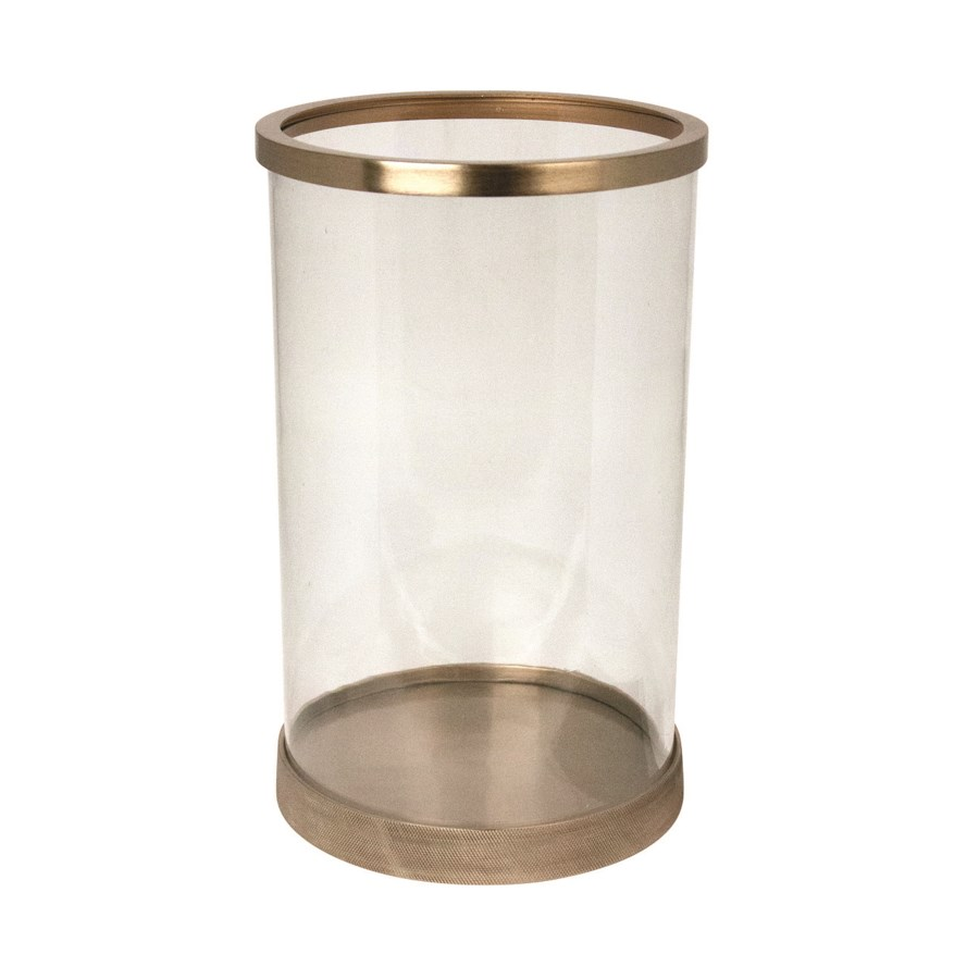 Candle Holder Aluminium With Clear Glass