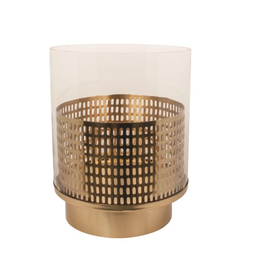 Candle Holder Round Modell Perforated With Glass