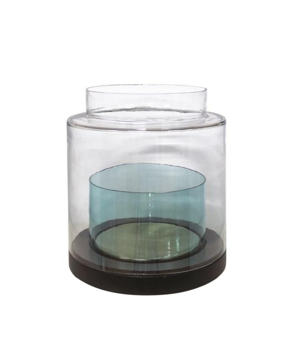 Vase Black Wood With Transparant Glass L
