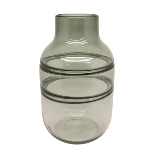 Vase Glass With Lines In Grey