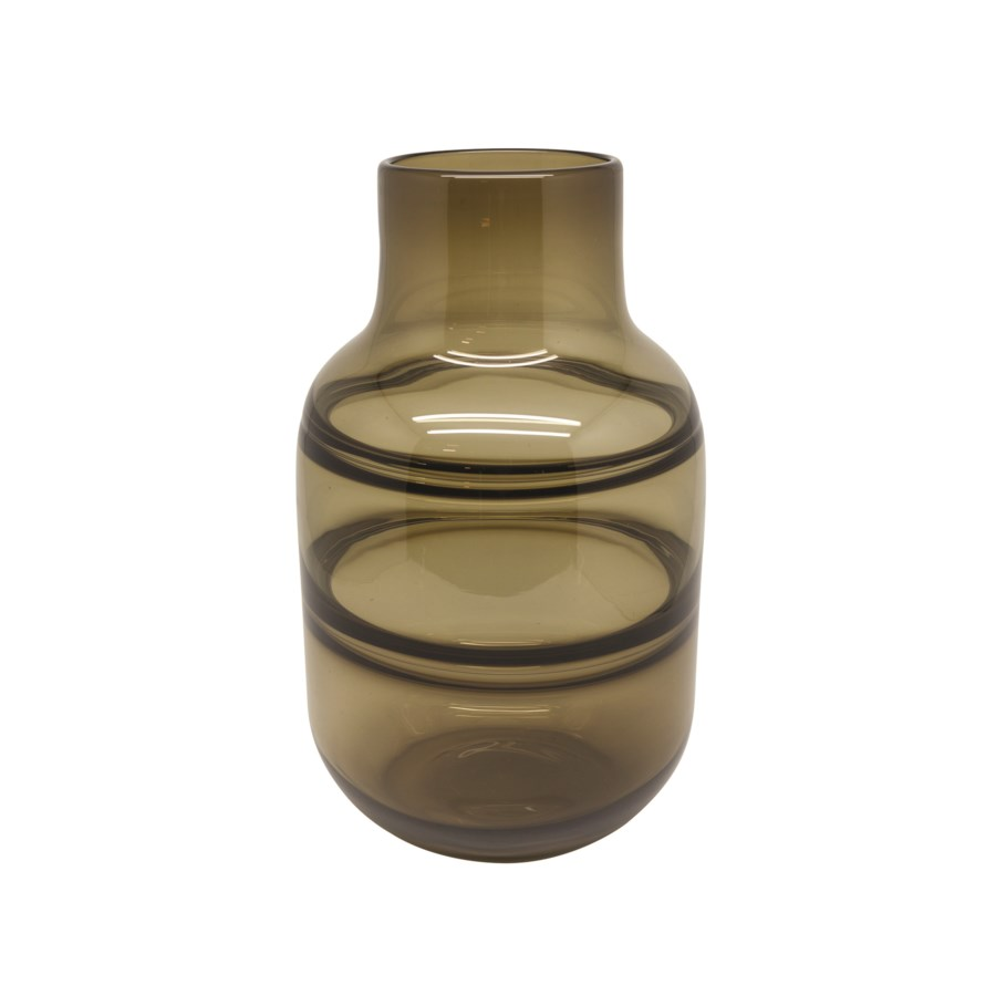 Vase Glass With Lines In Brown