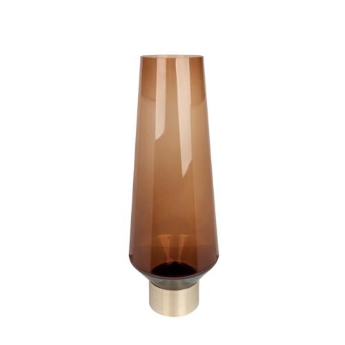 Vase Glass With Golden Brass Bottom M