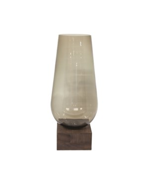 Vase Glass On Brown Wooden Base M