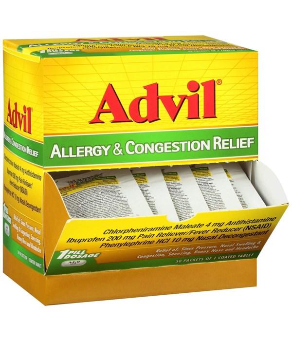 ADVIL® ALLERGY- CONGESTION RELIEF BOX  1'S  50/CS