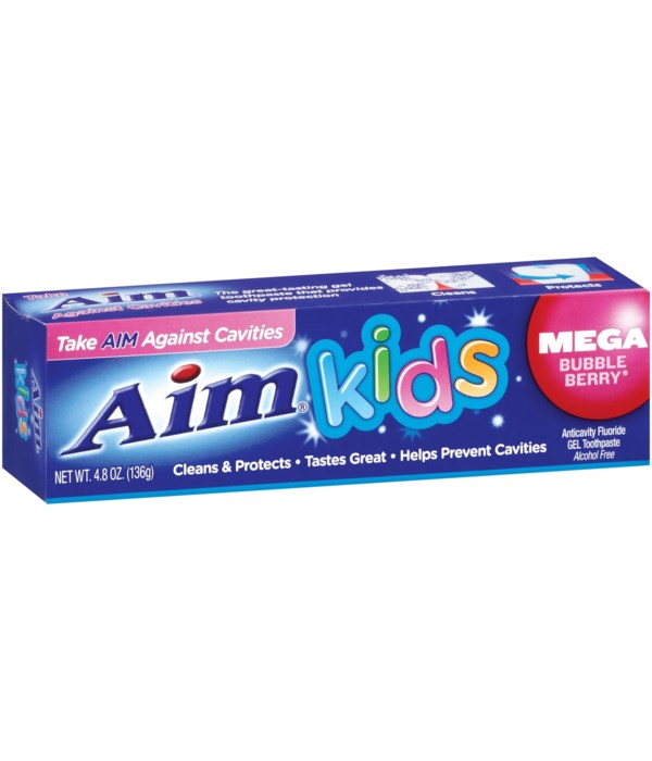 AIM® T/P 4.4 OZ-  KIDS - MEGA BUBBLEBERRY - 24/CS