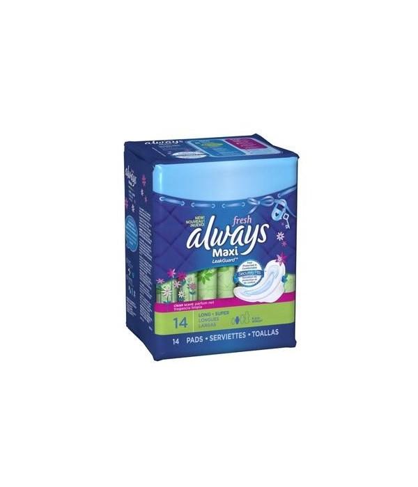 ALWAYS® MAXI FRESH SUPER LONG W/FLEXI WINGS - CLEAN SCENT 14PK- 12/CS