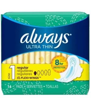 ALWAYS® ULTRA THIN REGULAR W/WINGS FRESH 16PK - 12/CS (02923)