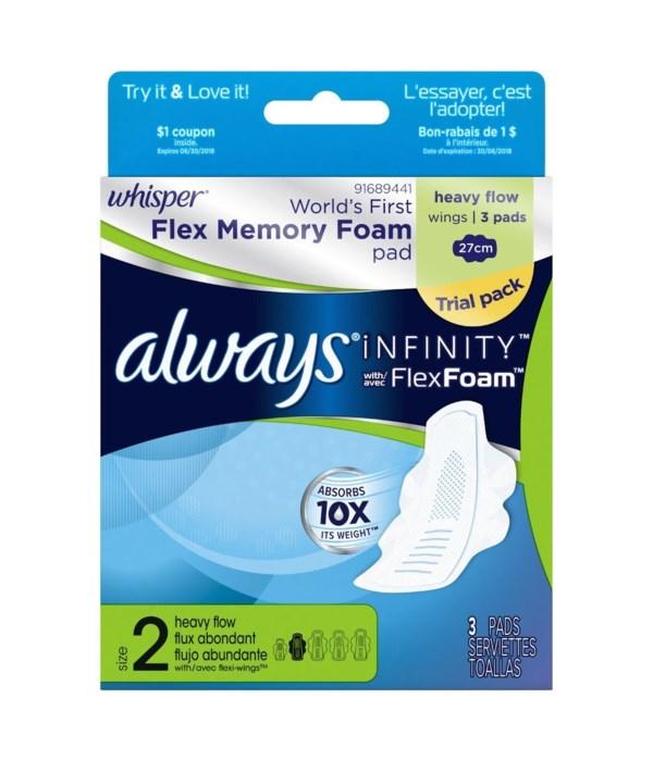 ALWAYS® INFINITY 3CT - W/FLEX FOAM HEAVY FLOW WINGS- TRAVEL SIZE- 36/CS
