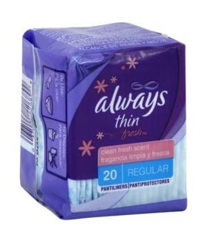 ALWAYS® THIN REGULAR WRAPPED UNSCENTED - 20PK - 24/CS (O: 08279 / I: 42688)