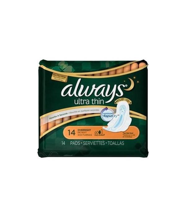 ALWAYS® ULTRA THIN OVER NIGHT 14PK - 12/CS (30165)