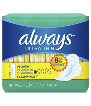 ALWAYS® ULTRA THIN REGULAR WITH WINGS 18PK - 12/CS