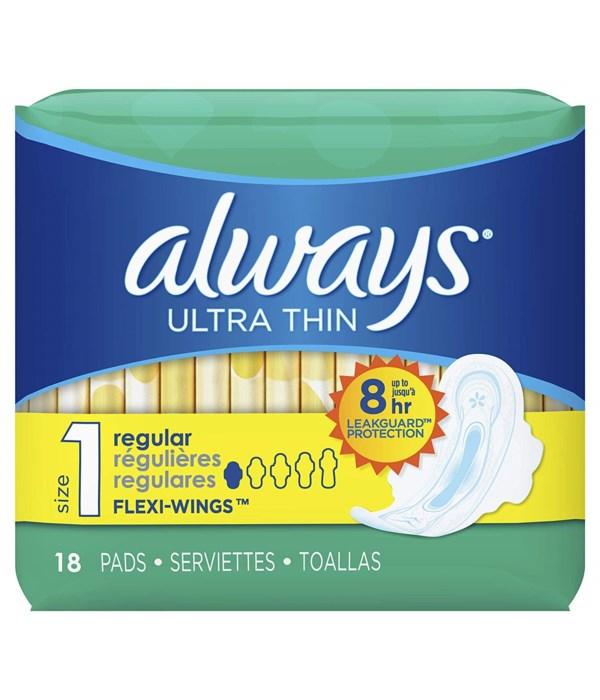 ALWAYS® ULTRA THIN REGULAR WITH WINGS 18PK - 12/CS