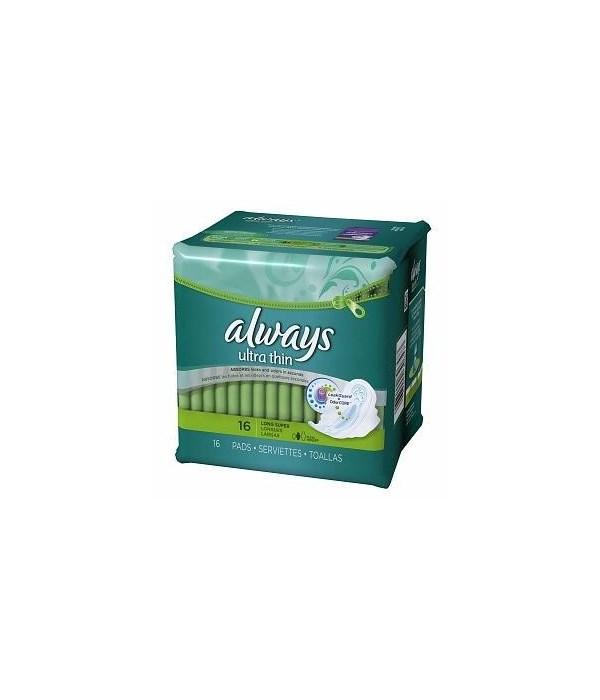 ALWAYS® ULTRA THIN LONG SUPER W/WINGS  16PK - 12CT/CS(30657/95231)