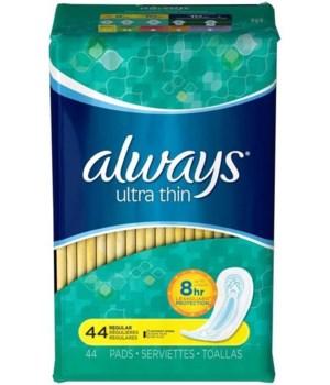 ALWAYS® ULTRA THIN REGULAR NO WINGS 44PK - 6/CS