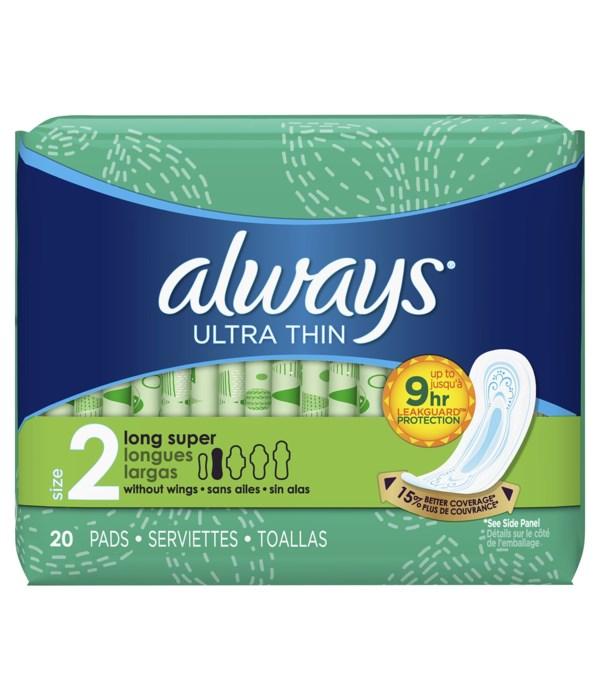 ALWAYS® ULTRA THIN LONG SUPER 20PK - 12/CS (33159)