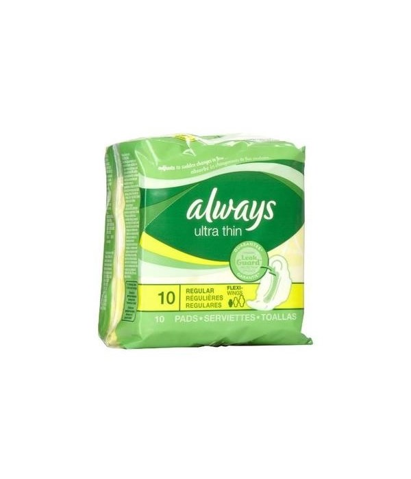 ALWAYS® ULTRA THIN REGULAR 10PK - 12/CS (34966)