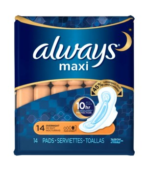ALWAYS� MAXI OVERNIGHT W WINGS 14PK - 6/CS (60387)