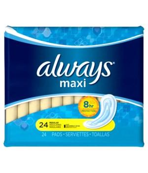 ALWAYS® MAXI REGULAR 24CT- 12/CS