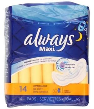 ALWAYS® MAXI OVERNIGHT W WINGS 12/14CT - 12/CS(60040)