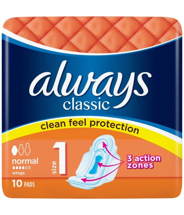 ALWAYS® CLASSIC SENSITIVE NORMAL- 10PK - 16/CS
