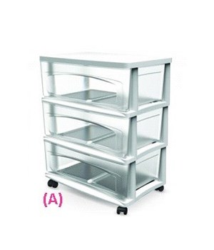 WIDE 3 DRAWER CART WHITE 1PK
