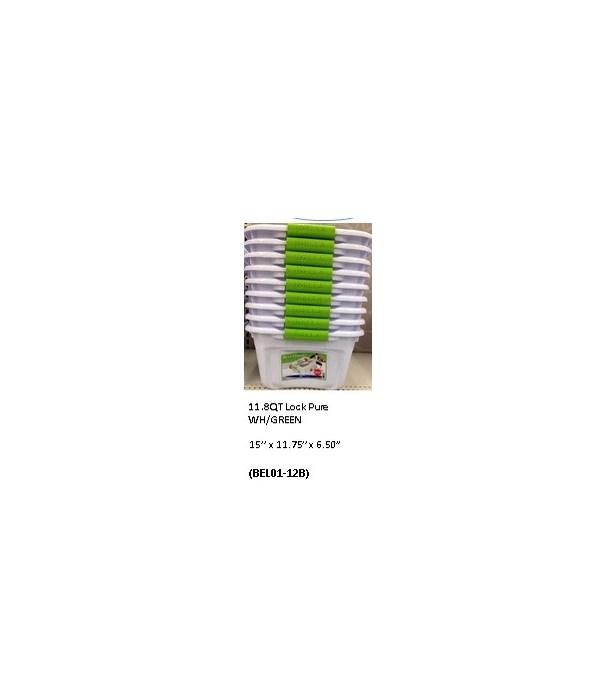11.8QT LOCK PURE WH/GREEN (012b)