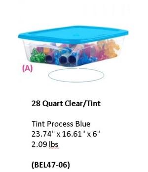 28QT STORAGE CLR TINT BLUE LID 6PK
