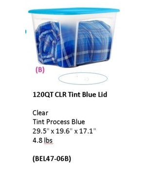 120QT  CLR TINT BLUE LID