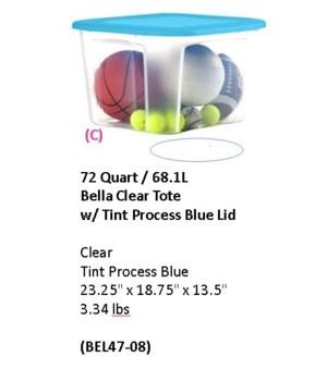 72QT CLEAR TINT BLUE LID 8PK
