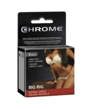 CHROME® CONDOMS 3'S- BIG RIG, LARGE- 120/CASE    (10 BUNDLES OF 12)