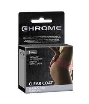 CHROME® CONDOMS 3'S- CLEAR COAT, ULTRA THIN-  120/CASE    (10 BUNDLES OF 12)