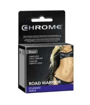 CHROME® CONDOMS 3'S- ROAD WARRIOR, STUDDED-  120/CASE    (10 BUNDLES OF 12)