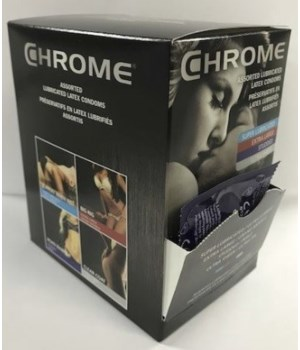 CHROME® CONDOMS- COUNTER DISPLAY ASSORTED 40 SINGLES- 10 DISPLAY/CS