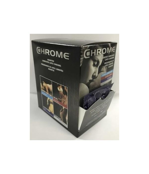 CHROME® CONDOMS- COUNTER DISPLAY ASSORTED 40 SINGLES- 10 DISPLAY/CS