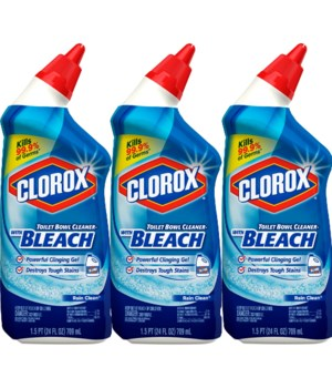 CLOROX� TOILET BOWL CLEANER MANUAL 24oz - RAIN CLEAN - 6 X 3PK/CS (30456)