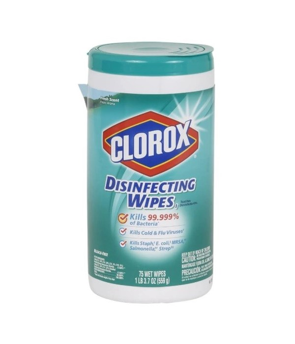 CLOROX® DISINFECTING WIPES 75CT- FRESH SCENT- 6/CS
