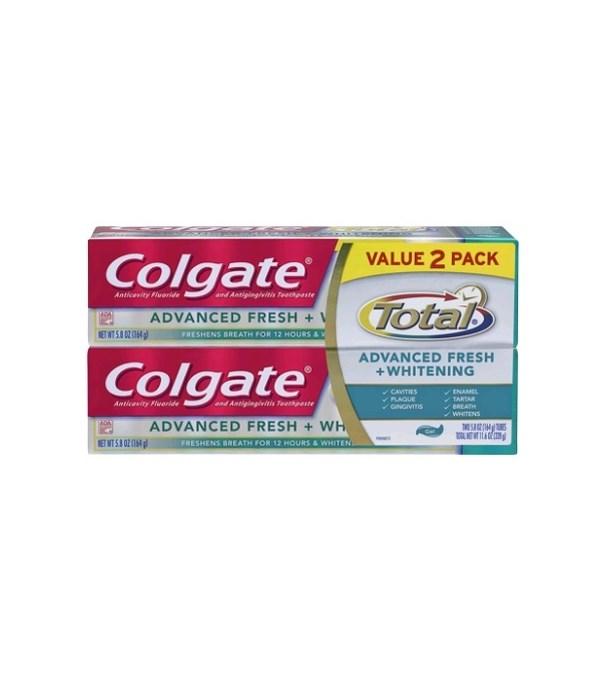 COLGATE TOTAL 5.8 OZ - ADVANCED WHITENING PASTE 2-PACK - 12/CS (76339)